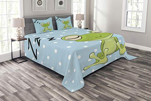 Quilted Frog (Ambesonne Cartoon Bedspread Set Queen Size, Sleeping Prince Frog in a Cap Polka Dots Background Cute Animal World Kids Design, Decorative Quilted 3 Piece Coverlet Set with 2 Pillow Shams, Green Blue)