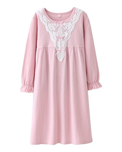 HOYMN Girls' Lace Nightgowns & Bowknot Sleep Shirts 100% Cotton Gowns for Child, Pink Lace, 4-5 Years/Tag 120 -