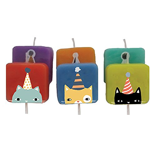 Design Design Cats With Hats Birthday Candle, Multicolor