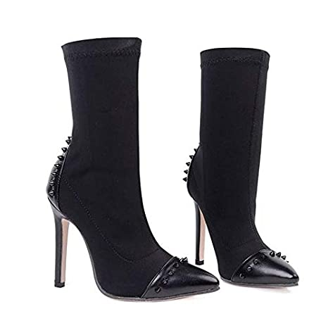 63aa2f40b8c5 Amazon.com  HuWang Women Ankle Boots Stretch Fabric Pointed Toe High ...