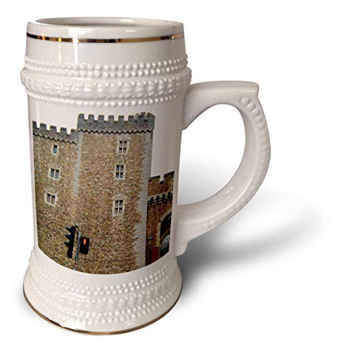 3dRose Jos Fauxtographee- Cardiff Wales Castle Wall - The outer walls of the Cardiff Castle in Wales on a Main Street - 22oz Stein Mug ()