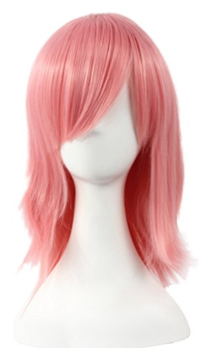 Fashion Unisex Short Straight Wig Anime Halloween Cosplay Wig,Pink (Adult Short Pink Wig)