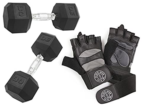 CAP Barbell Rubber-Coated 60-Pound Hex Dumbbells, Set of 2 with Gold's Gym Elite Wrist Wrap Weight Lifting Gloves - Ocelot Faux Fur