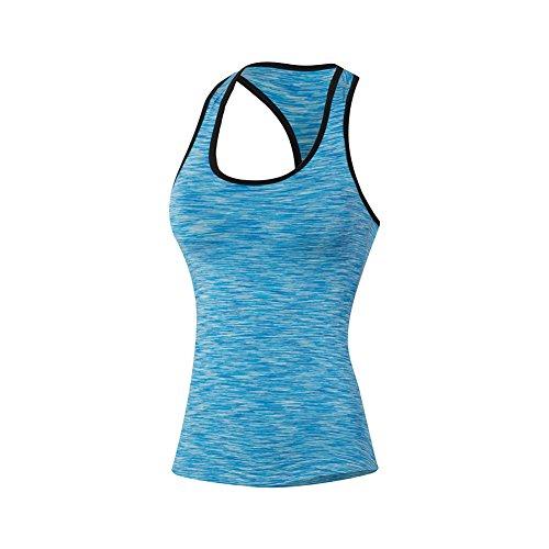 onezi Stretch Compresión Camiseta De Tirantes de secado rápido camiseta Dry Fit de la mujer tight formación deportes Pro Fitness running yoga baloncesto blue M