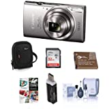 Canon PowerShot ELPH 360 HS 20.2MP Digital Camera, Silver - Bundle with Camera Case, 32GB Class 10 SDHC Card, Spare Battery, Cleaning Kit, Card Reader, Software Package