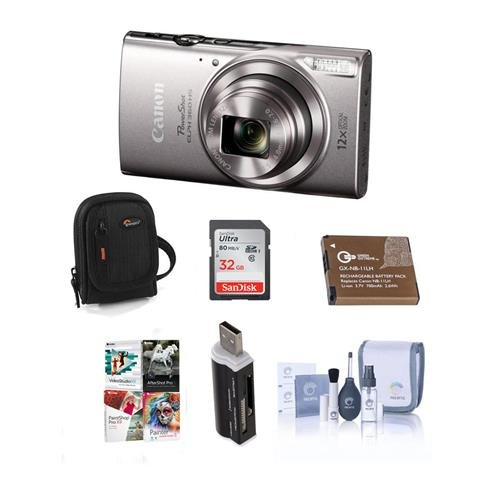 Cheap Canon PowerShot ELPH 360 HS 20.2MP Digital Camera, Silver – Bundle with Camera Case, 32GB Class 10 SDHC Card, Spare Battery, Cleaning Kit, Card Reader, Software Package
