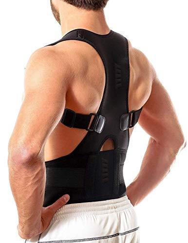 Back Brace,Aptoco Adjustable Magnetic Back Shoulder Support Brace for Posture Correction, Magnetic Therapy Upper Back Lumbar Support Black Size M