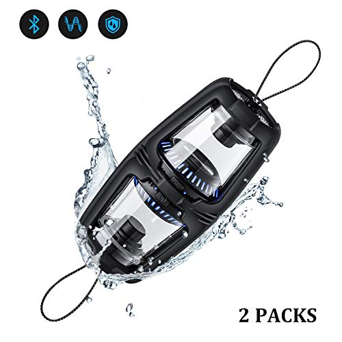Portable Bluetooth Speaker Set, Shower Speaker with LED Ambient Light, Detachable Outdoor Waterproof Mini Speaker Set True Wireless Stereo with Magnetic Base USB Rechargeable for Camping, Beach, Sport