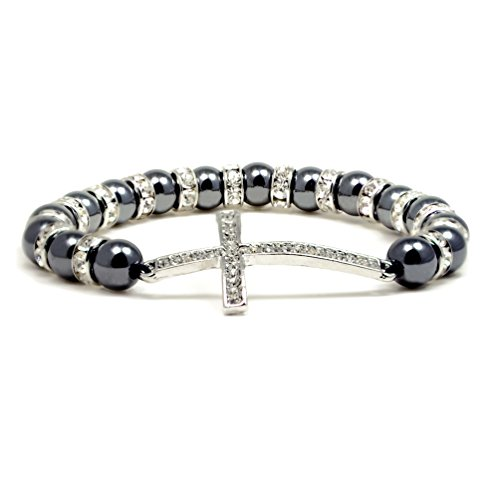 Accents Kingdom Women's Magnetic Hematite Tuchi Simulated Pearl Cross Bracelet with Simulated Clear Crystal 7.5