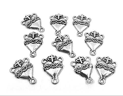 Ten (10) Silver Tone Pewter SACRED HEART Rosary Centers