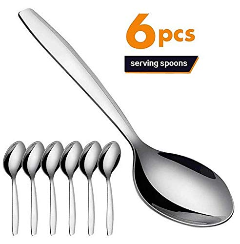 (Serving Spoon Set of 6, Elegant Life 9.8 Inch Japan Stainless Steel Dinner Buffet Catering Banquet Serving Spoons, Mirror Finish, Dishwasher)