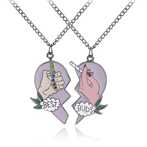 OUXUN Necklace For Best Buds Friends 2 Pcs Set Teen Girls BFF Chic Heart Split Cigarette Lighter Design Matching Pendant Necklaces Friendship Jewelry Birthday Gifts For Best Friend (Purple(1pairs))