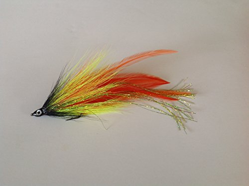 Haggerty Deceiver Flies - 1/0 to 4/0 - Premium Streamers - Pike, Musky, Striper, Barracuda (Chartreuse / Orange, (Pike Streamer)
