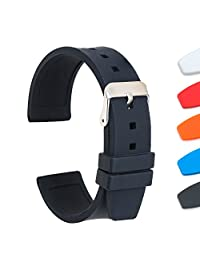 Ullchro Silicone Watch Strap Replacement Rubber Watch Band Waterproof Smooth Flexible Men Women - 16mm, 18mm, 20mm, 22mm, 24mm, 26mm, 28mm Watch Bracelet with Silver Buckle (22mm, Black)