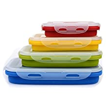 Set of 4 Silicone Food Storage Containers, Silicone Collapsible Lunch Bento Box - BPA Free, Microwave, Dishwasher and Freezer Safe