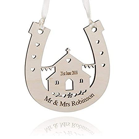 6a7e57a1fd7 Alphabet barn Wedding gift personalised engraved horseshoe present for just  married couple/him/her/handmade church design in the UK 12.5cm x 12.5cm: ...