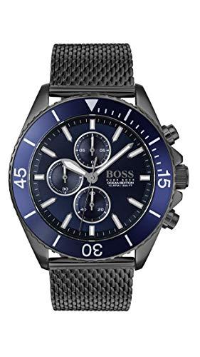 (BOSS Men's Ocean Edition Chrono Quartz Grey IP and Mesh Bracelet Casual Watch, Color: Grey (Model:)