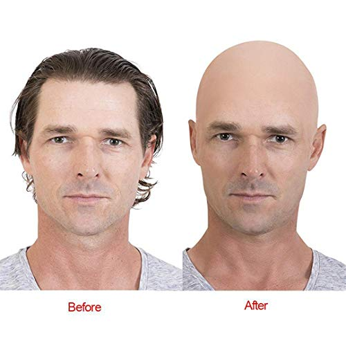 Adult Latex Scary Mask Full Head Face Breathable Halloween Mask Horrible Mask Fancy Dress Horror Mask Bald Cap -