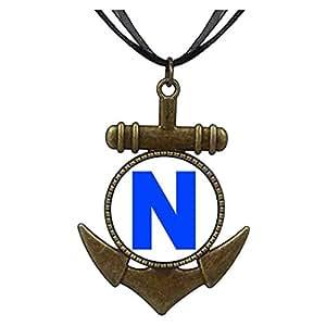 Chicforest Bronze Retro Style Blue Letter N Anchor Pendant
