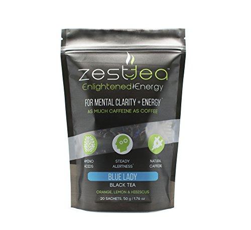 Energy Tea - Blue Lady Black High Caffeine Tea - As Much Caffeine As Coffee Per Bag (20 Tea Sachets)