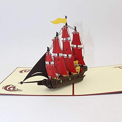 Tarjeta desplegable 3D, hecha a mano en 3D, con bandera de color ...