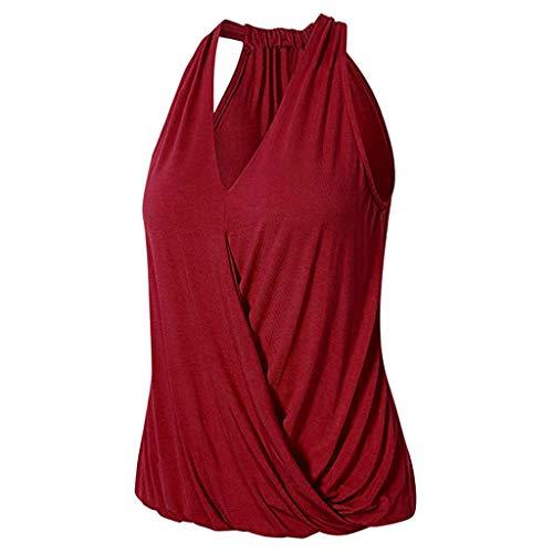 Yezijin_Women's Wear Womens Sleeveless V Neck Tops,YEZIJIN Women Solid Casual V-Neck Loose Sleeveless Top Blouse Red -