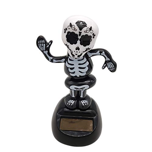 Opeer Solar Powered Dancing Skull Halloween Swinging Animated Bobble Dancer Toy Car Decor (B) -