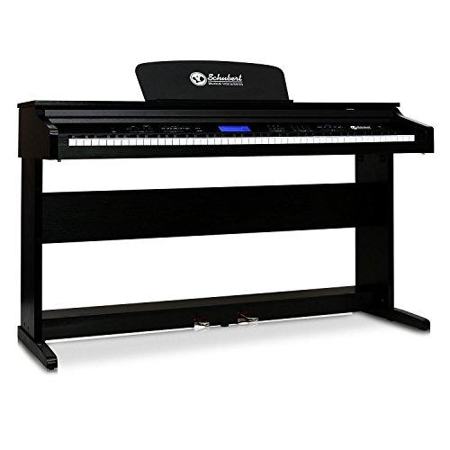 Schubert Midi E-Piano Digital-Piano mit 88-Tasten & 2 Pedale (Aufnahmefunktion & interner Speicher, 138 Instrumente, 118 vorprogrammierte Rhythmen, 31 Demo-Songs) schwarz
