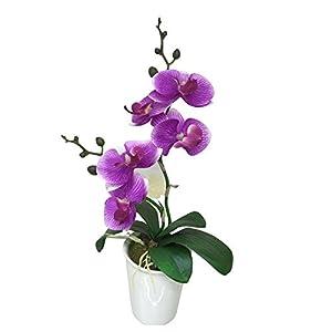 """Fiore Purple Orchid in Porcelain Pot, 5 Blooms - Mini -  Faux Plants - 14"""" - 12ct Box - Restaurantware 71"""