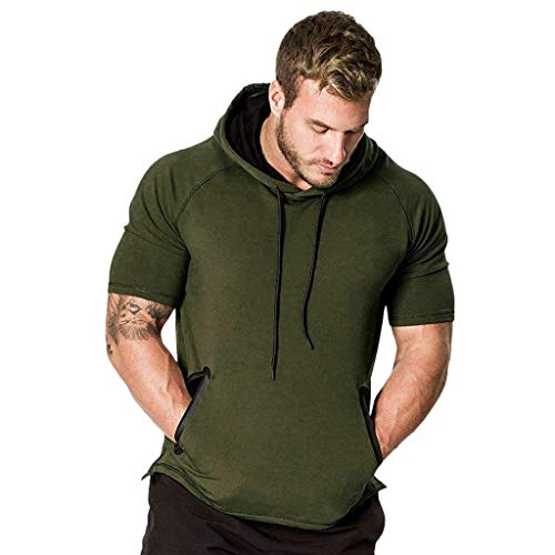MILIMIEYIK Blouse,Mens Hipster Hip Hop Short/Long Sleeve Longline Pullover Hoodies Shirts Army Green