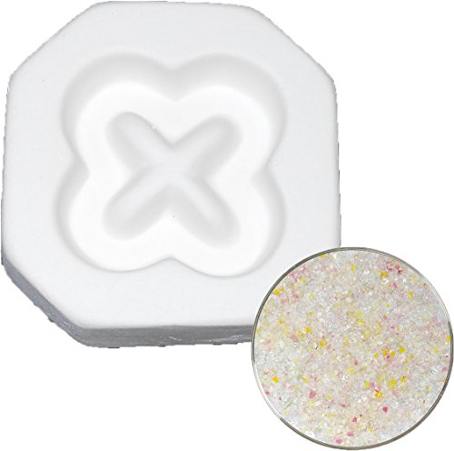 Cross Flower Pendant and Designer Frit Sampler Kit, 90COE - Fusible Glass Jewelry Mold