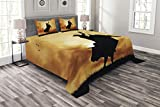 Lunarable Western Bedspread Set Queen Size, Bull Rider Silhouette at Sunset Dramatic Sky Rural Countryside Landscape Rodeo, Decorative Quilted 3 Piece Coverlet Set with 2 Pillow Shams, Amber Black