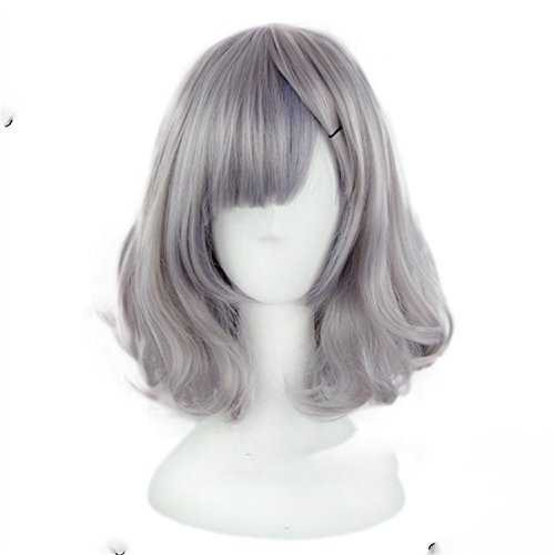 Suuny Queen Grey Short Wig Women's Cute Fringe Curly Bob Cosplay Wig Heat Resistant Full Hair Gray Short Wig