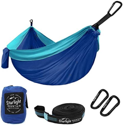 Starlight Mountain Outfitters Single Double Hammock – Portable Lightweight Parachute Nylon with Tree Straps, Best Hammock for Backpacking, Hiking, Camping, Outdoors Travel