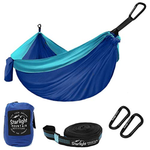 Starlight Mountain Outfitters Single Camping Hammock - Portable Lightweight Parachute Nylon with Tree Straps, Best Hammock for Backpacking, Hiking, Camping, Outdoors Travel