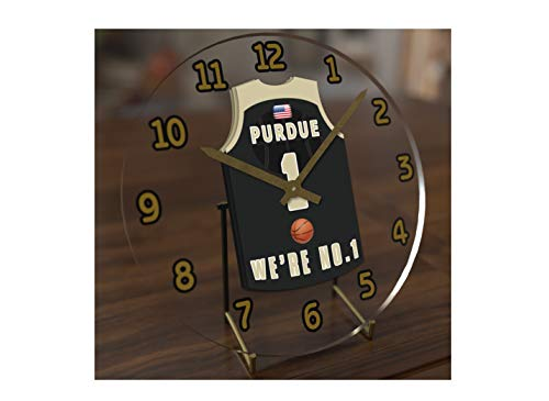 (FanPlastic College Basketball USA - We're Number ONE College Hoops Jersey Themed Clocks - Support Your Team !!! (Purdue Boilermakers))