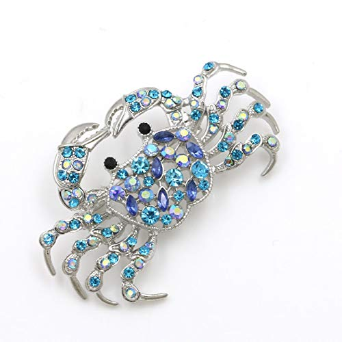 Light Blue Ab Crystal Rhinestones Fashion Crab Brooch Pin Badge Emblem Corsage Pins Costume Jewelry for Women Girl