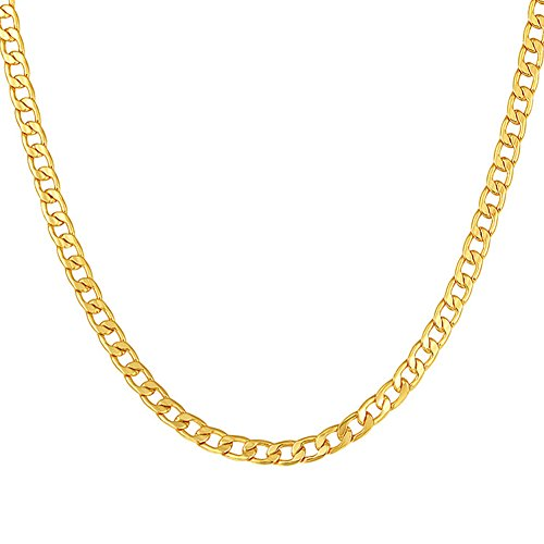 MMTTAO 18K Gold Plated Mens Cuban Curb/Figaro/Snake Chain Link Necklace for Pendant Men Women 5MM/6MM Wide Hip Hop Hiphop Mens Fashion Jewelry Gifts with 18K Stamp, 18Inches-32Inches