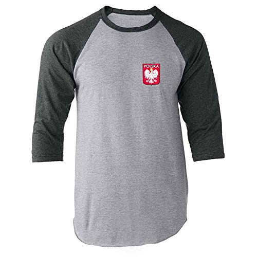 (Poland Soccer Retro National Team Sports Football Gray M Raglan Baseball Tee Shirt)