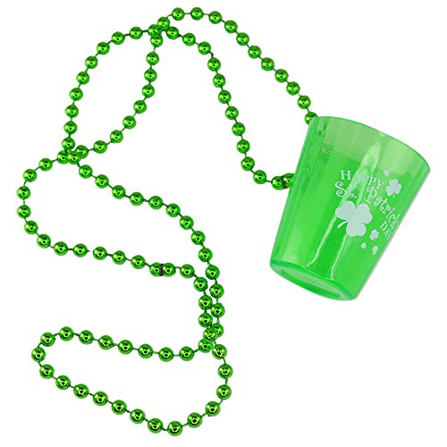 St. Patrick's Day Shamrock Shot Glass Bead Necklaces - Pack of 12 ()