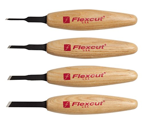 FLEXCUT Carving Tools, Skew Micro Tool Set, High-Carbon Steel Blades, with Solid Ash Handle, Set of 4 (MT200)
