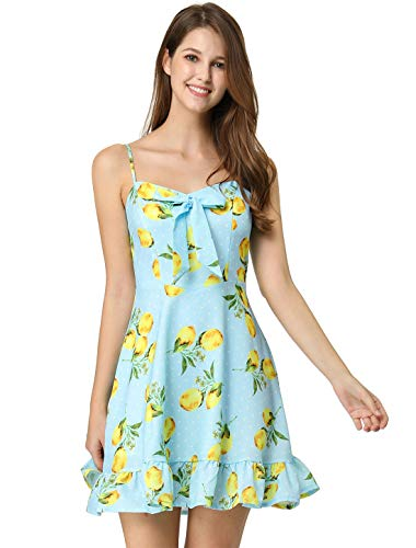 - Allegra K Women's Spaghetti Strap Bowknot Ruffle Lemon Polka Dot Dress Light Blue S (US 6)