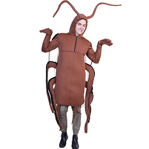 Jeash Halloween Big Antique Golden Tone Orange Insect Cicada Beetle Bug Costume Spoof Cockroach Cosplay Clothes Props (Brown)