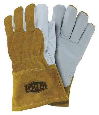 Welding Gloves, Cowhide, Pearl/Gold, PK12
