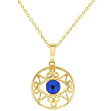 "Gold Tone Round Greek Turkish Blue Evil Eye Pendant Necklace 19"""