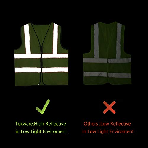 Tekware Safety Vest with High Reflective Strips, Pack of 10 Bright Neon Color Construction Protector with Zipper by Tekware (Image #4)
