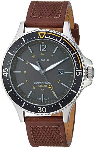 (Timex Men's TW4B15100 Expedition Ranger Solar Brown/Dark Green Leather Strap Watch)
