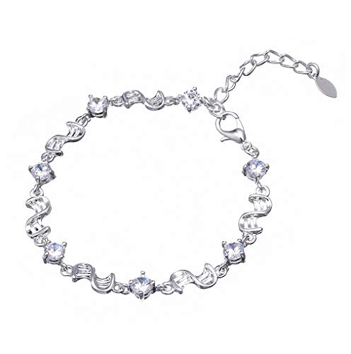 Giwotu Womens Bracelets European Style Vintage Silver Plated Crystal Charm Bracelet Women White and Purple Crystal Bracelet White Color