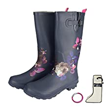 RAHATA Rubber Wide Calf Rain Boots For Women With Storage Bag Carabiner
