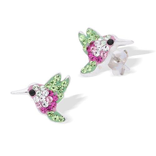 Sterling Rhodium Plated Hypoallergenic Hummingbird Earrings